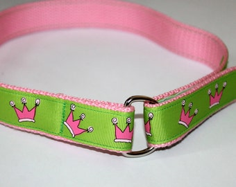 Girls Princess Belt Princess Velcro Belt Girl Velcro Belt Pink Princess Belt Princess Crown Belt Preschool Belt Little Girl Belt D Ring Belt