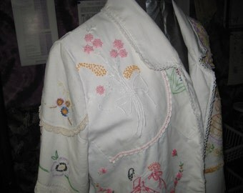 White linen blazer jacket, upcycled hand embroidered linen, size small