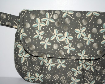 Grey, Light Blue and White Flower Clutch Bag