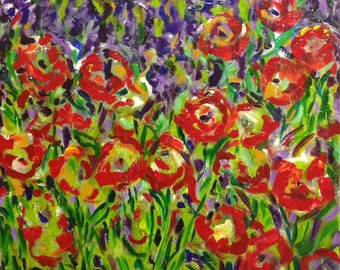Original acrylic painting of lavender and poppies