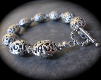 "Oval silver filigree bracelet with toggle clasp with puffed oval filigree beads 8"" Filigree Toggle bracelet Large Size Bracelet"