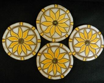 Mosaic Tile Coasters YELLOW SUNFLOWER Handmade Ceramic Stoneware Floral Art, Felt Backed Set of 4