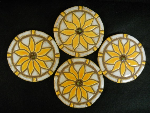 Mosaic Tile Coasters YELLOW SUNFLOWER Handmade Ceramic Stoneware Floral Art, Flet Backed Set of 4
