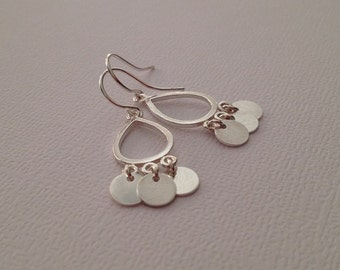 Tiny Silver Disc Earrings in Sterling -Sterling Sequin Dangle Earrings