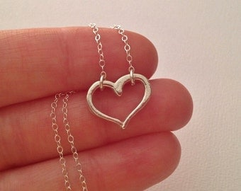 Tiny Heart Necklace in Sterling Silver -Sterling Heart Necklace -Sweetheart Gift