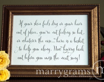 Wedding Bathroom Basket Sign -Wedding Reception Signage -Bathroom Goodies, Toiletries Poem Sign (Set of 2) - Matching Numbers Available SS07