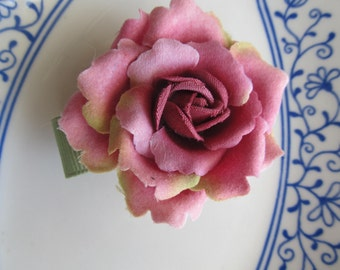 Pretty Barrette, Green Ribbon With Pink Rose