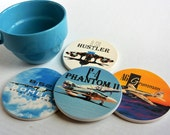Airplane Coasters-Vietnam War Planes-Set of 4 Ceramic Coasters-Airplane gift, gift for veterans, pilot gift, gift for dad,stocking stuffer