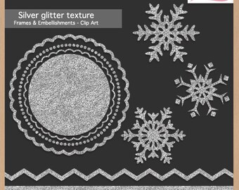 Digital Scrapbooking Pack - SILVER GLITTER TEXTURE - Christmas Frames & Embellishments - Scrapbook Clip Art - Instant Download