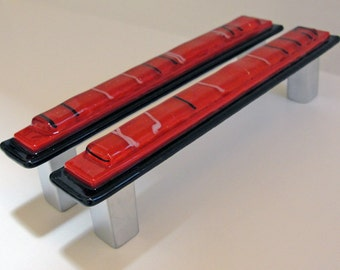 Cabinet Pull, Fused Glass Drawer Pull, Red And Black Drawer Pull, Door Pull