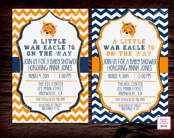 AUBURN BABY SHOWER Auburn Tiger Baby Shower Invite, Auburn Baby Shower Invite, Tiger Baby Shower, Auburn Baby Shower, Navy and Orange Showe