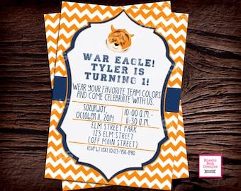 AUBURN BIRTHDAY INVITE Auburn Tiger Birthday Invite, Auburn Birthday Invite, Tiger Birthday, Auburn Birthday, Auburn Tiger, Auburn