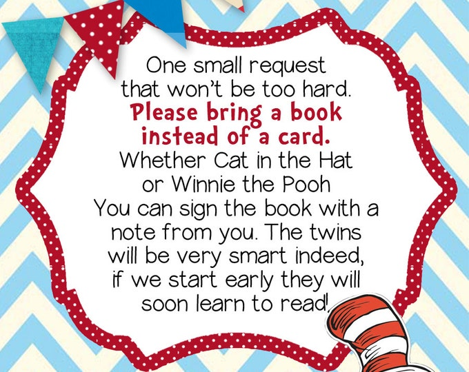 TWIN BOOK INSERT Dr. Seuss Twin Printable Baby Shower Book Card (Red & Blue), Twin Baby Shower Insert, Seuss Book Insert, Instant Download