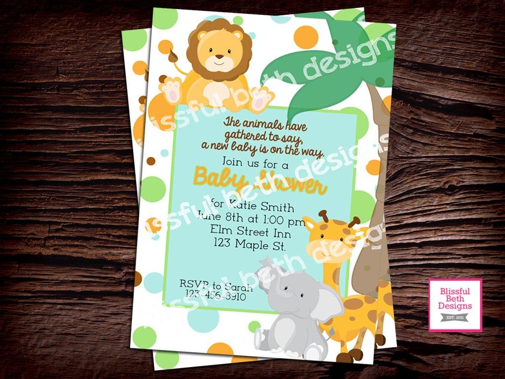 safari baby shower animal baby shower invitation pastel