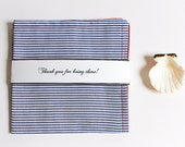 Nautical Wedding Groomsmen Gift, Beach Red Blue Stripes Reversible Pocket Square, Personalized Groomsman Men's Handkerchief, Custom Groom