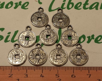 24 pcs per pack 14mm Lucky Coin Charm Antique Silver Finish Lead Free Pewter