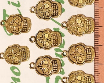 12 pcs per pack 19x12mm Printed Sugar Skull Reversible Charm Antique Gold Lead free Pewter.