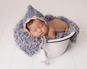 PDF Crochet Pattern - newborn photography prop shell pixie hat #19