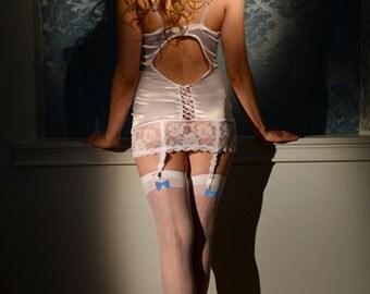 Annabelle Bow Accented Seamed Wedding Stay-up Thigh Highs, Wedding Hosiery, Bridal Legwear, Bridal Thigh Highs, Something Blue on Legs