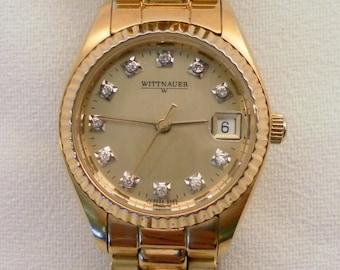 Vintage 1980's Wittnauer Ladies Quartz Watch.  Beautiful Dial & Case, Original Link Band. Swiss 7 Jewel  ETA 956114 Mvt. Good Condition.
