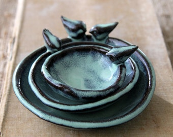 Nesting Bowl Bird Dishes - Ring Dish Jewelry Holder - Gift for Mom - Four Bird Family - Aqua Mist - French Country Home Decor