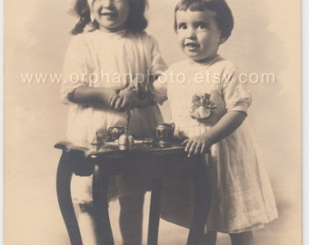 Vintage/Antique adorable photo of two beautiful girls sisters signed photo
