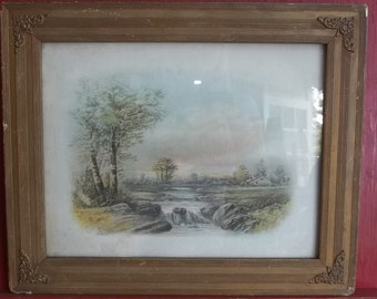 Antique William Henry Chandler Print Pastel Painting, in Original Frame 1854 to 1928