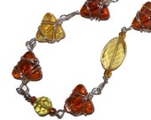 OOAK Amber and Golden Stones Recycled Art Necklace Original Design
