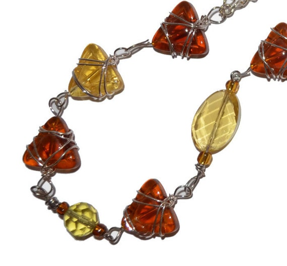 One Day Sale ! OOAK Amber and Golden Stones Recycled Art Necklace Original Design