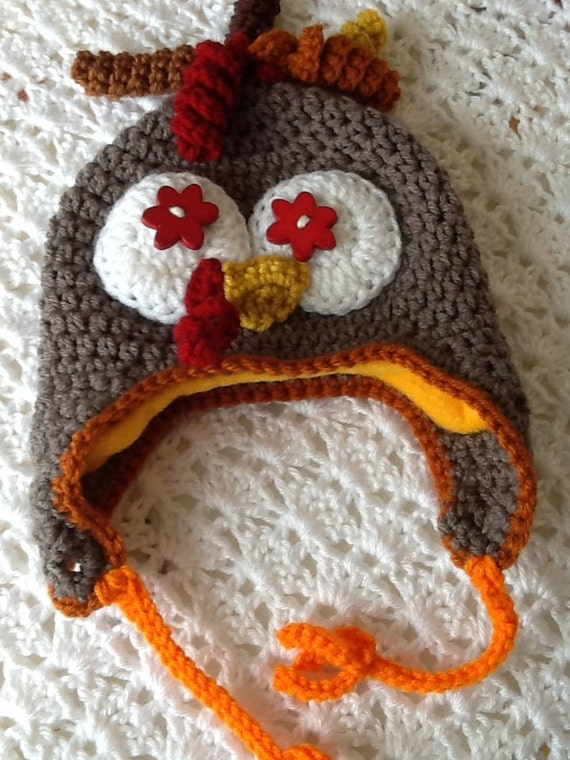 Fleece-Lined Turkey Hat, Child Animal Hat, Turkey Hat, Crochet Baby Hat, Winter Hat, Baby Hat, Newborn Hat, Child Hat