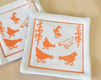 Pot Holders,  One Pair:  Chickens Orange