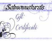 Gift Certificate// Twenty five// Fifty// One Hundred Dollars to Salmonnaturals by Leisha Salmon