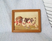 Vintage Nursery Art Three Puppies Toddler Little Boys Room Antique Home Decor 3D Wall Art