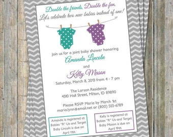 Joint Baby Shower Invitation, polka dot onesies, Purple and Teal/Green Digital, Printable file