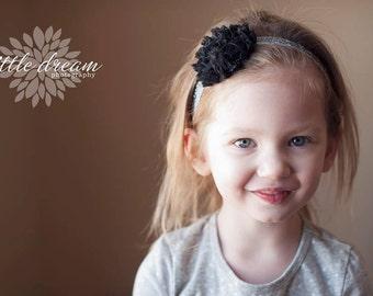 Black Sparkle Chiffon Flower on Silver Sparkle Elastic Headband - Newborn Baby Girl Adult - Elegant Wedding Fancy Easter
