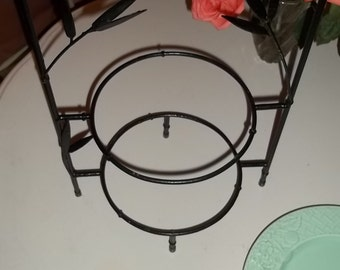 ABSOLUTELY ADORABLE and AVAILABLE / Vintage Black Metal Bamboo Two-Tiered Plate Stand /Chinoiserie Chic / Palm Beach Chic