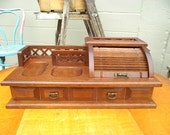 Vintage Valet & Jewelry Box with Roll Top Feature Wood - Reserved for Karin