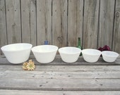 5 Federal Mixing Bowl Nesting Set - Oven Ware UNUSED Condition - Milk Glass