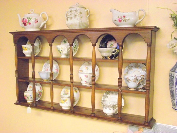 Wood 3 Tier Display Teacup Amp Saucer Curio Wall Shelf W