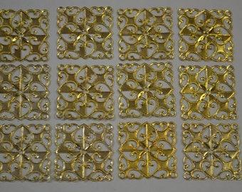 1 1/8  Inch (30mm) Aluminum Square Filigree Gold Color 12PCS