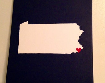 "Pennsylvania Love Painting - 11x14"" canvas - Customized and hand painted"