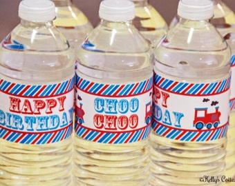 Vintage Train Birthday Party Water Bottle Wraps, Instant Download, Printable, Digital