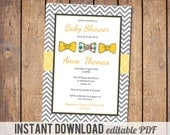 instant download, editable PDF Boys baby shower invitation, modern, bow tie, chevron grey and yellow digital, printable file
