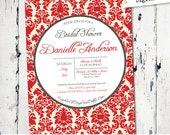 Damask Printable Bridal Shower Invite, elegant bridal shower invite, red invitation, digital file (JPD111)