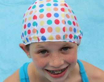 Lycra SWiM CaP - SMALL RAINBOW DOTS - Sizes - Baby , Child , Adult , Xl - Made from Spandex / Swimsuit Swimming Fabric - Froggie's Swim Caps