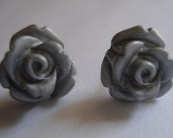 Metallic Silver Polymer Clay Post/Stud Earrings Set On Quality Titanium Post Size 9-10mm