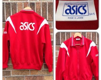 RARE 1980s Japan Only Bright Red Asics Track Jacket Coat Mens Medium / Vintage sportswear Hipster