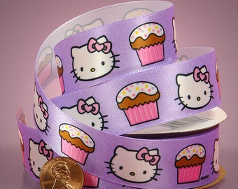 "Adorable! 3yds x 7/8""  Lavender Purple Character ""HELLO KITTY CUPCAKES"" Satin Ribbon"