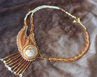 Fire of Love bead embroidery necklace