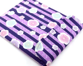 SALE Purple iPad Sleeve - Kimono iPad Case - Padded iPad Cover - Gift For Her Flap Closure - Kimono pattern fabric plum blossom purple